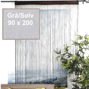Trådgardin - 90 x 200 cm, grå/sølv