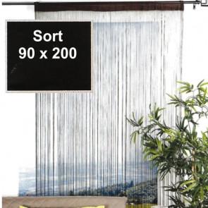Trådgardin - 90 x 200 cm, sort